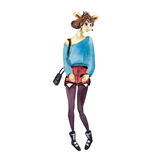 Übergeben Sie gezogene Modeillustration des gekleideten oben Hündchenhippie-Mädchens Stockfotografie