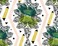 Übergeben Sie gezogene nahtlose tropische Mustertexturcollage der Vektorzusammenfassung freihändig mit geometrischer Form, organi lizenzfreie abbildung