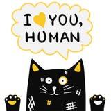 Übergeben Sie gezogene nette beschmutzte Katze mit Handbeschriftungstext lizenzfreie abbildung