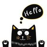 Übergeben Sie gezogene nette schwarze Katze mit Beschriftungswort hallo vektor abbildung