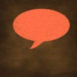 Übergeben Sie gezogene Orange geweißte Rede auf Designhintergrund Stockfoto