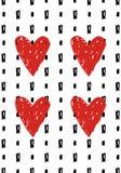 Übergeben Sie gezogene romantische Grußkarte mit Tintenklecksen und -herzen lizenzfreie abbildung