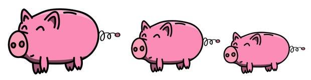Übergeben Sie gezogene rosa, saubere, glänzende und glückliche fette piggybank Familie in der Karikaturart, farbige Illustration  Stockfoto