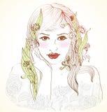 Übergeben Sie gezogene schöne Frau mit Blumen im Haar Stockfotografie
