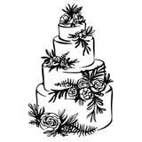 Übergeben Sie gezogene Skizze der Hochzeitstorte mit Blumendekoration Stockbild