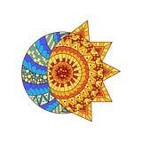 Übergeben Sie gezogene Sonne, Neumond und Stern für Antidruckfarbtonseite Stockfotos