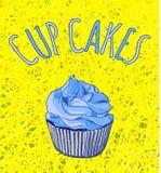 Übergeben Sie gezogene VEKTOR-Illustration des kleinen Kuchens auf Threadhintergrund Blaue und gelbe helle Farben Lizenzfreie Stockfotografie