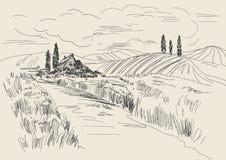 Übergeben Sie gezogene Vektor Illustration von Weizenfeldern und von Dorfhaus Tintenzeichnung in der Weinleseart Stockbilder