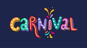 Übergeben Sie gezogene Vektor Karnevals-Beschriftung mit Blitzen des Feuerwerks, buntes Konfetti Festlicher Titel, Schlagzeilenfa lizenzfreie abbildung