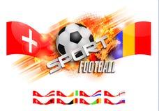 Übergeben Sie gezogene Vektorgrungefahne mit Fußball, stilvoller Komposition und Orangenaquarellhintergrund, Stockfoto