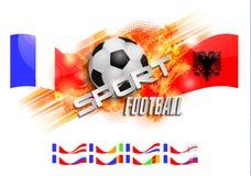 Übergeben Sie gezogene Vektorgrungefahne mit Fußball, stilvoller Komposition und Orangenaquarellhintergrund, Stockfotografie