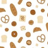 Übergeben Sie gezogene Vektorillustration des Brotmusters auf weißem Hintergrund Muster für Gewebe, Gewebe, Packpapier Lizenzfreie Stockfotos