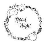 Übergeben Sie gezogene Vektorillustration - gute Nacht, Karte mit Kranz Stockbild