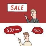 Übergeben Sie gezogene Vektorillustration von den Leuten, die herauf Leerstelle zeigen Geschäftsmannpunkt der Finger zu verschale Lizenzfreie Stockbilder