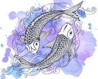 Übergeben Sie gezogene Vektorillustration von zwei Koi-Fischen (japanischer Karpfen)
