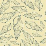 Übergeben Sie gezogene Vektorillustrationen - nahtloses Muster der Muschel Lizenzfreie Stockbilder