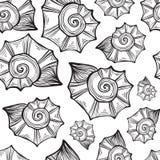 Übergeben Sie gezogene Vektorillustrationen - nahtloses Muster der Muschel Lizenzfreies Stockfoto