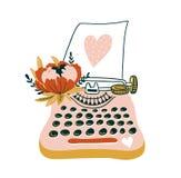 Übergeben Sie gezogene Vektorkarte mit Schreibmaschine und Herzen Skandinavische Artillustration, Liebesdesign für Valentinsgruß  Lizenzfreie Stockfotos