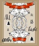 Übergeben Sie gezogene Vektorzusammenfassung Weihnachtsgrußkartenschablone mit grafischer Rotwildzusammensetzung des Spiegels im  lizenzfreie abbildung
