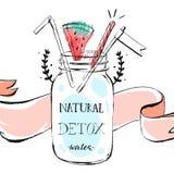 Übergeben Sie gezogene Vektorzusammenfassungs-Sommerzeit-Limonadentitelillustration mit Glasflaschenglas, watermellon, Band und vektor abbildung