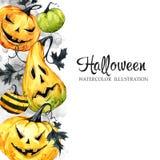 Übergeben Sie gezogene vertikale Fahne mit Aquarellkürbisen und -blättern Halloween-Feiertagsillustration Lustige Nahrung magie stock abbildung