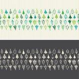 Übergeben Sie gezogene Weihnachtsbäume Nahtloser Vektor Stockbild