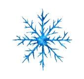Übergeben Sie gezogenem Aquarell die blaue Schneeflocke, die auf weißem Hintergrund lokalisiert wird Stockfotos