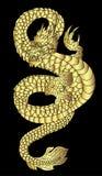 Übergeben Sie gezogenem Golddrachen japanische Tätowierungsart auf schwarzem Hintergrund Lizenzfreies Stockfoto