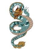 Übergeben Sie gezogenem Golddrachen japanische Tätowierungsart auf weißem Hintergrund Lizenzfreie Stockbilder