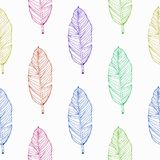 Übergeben Sie gezogenem tropischem Banane colorfull Blatt nahtlosen Mustervektor vektor abbildung