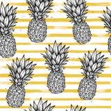 Übergeben Sie gezogenem Vektor nahtloses Muster - Ananas mit gestreifter Rückseite