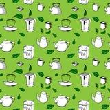 Übergeben Sie gezogenem Vektor nahtloses Muster - Tee, Schalen und Lizenzfreies Stockfoto