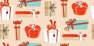 Übergeben Sie gezogenem Vektorzusammenfassungsspaß Zeitkarikaturillustrationen der frohen Weihnachten nahtloses Muster mit netter Lizenzfreie Stockfotografie