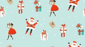 Übergeben Sie gezogenem Vektorzusammenfassungsspaß Zeitkarikaturillustrationen der frohen Weihnachten nahtloses Muster mit Leuten stock abbildung