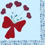 Übergeben Sie gezogenen Blumenstrauß von bunten Herzen mit dekorativen Mosaikelementen stockfoto