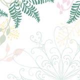 Übergeben Sie gezogenen Blumenvektor mit Spitzegestaltungselement und Pastellnaturillustrationen von grünen Farnen Efeu und Blume vektor abbildung