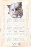 Übergeben Sie gezogenen Kalender 2011 Lizenzfreies Stockbild
