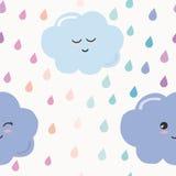Übergeben Sie gezogenen nahtlosen Musterhintergrund mit bunten Aquarelltropfen und -wolken für Kinder Kawaii-Design lizenzfreie abbildung