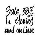 Übergeben Sie gezogenen Phrase Verkauf 50 weg in den Geschichten und auf Linie ENV 10 Stockfoto