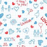 Übergeben Sie gezogenen Rahmen von den Liebeselementen und nett lizenzfreie abbildung
