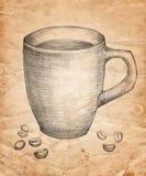 Übergeben Sie gezogenen Tasse Kaffee mit Kaffeebohnen auf altem Papier-backgrou lizenzfreie abbildung
