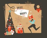 Übergeben Sie gezogenen Vektorzusammenfassung guten Rutsch ins Neue Jahr-Zeit-Karikaturillustrationen Retro- Karte mit Weihnachts lizenzfreies stockfoto