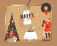 Übergeben Sie gezogenen Vektorzusammenfassung guten Rutsch ins Neue Jahr-Zeit-Karikaturillustrationen Retro- Karte mit romantisch lizenzfreie stockfotografie