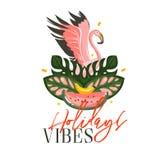 Übergeben Sie gezogenen Vektorzusammenfassungskarikatur-Sommerzeitillustrationen exotisches tropisches Zeichen mit Flamingovogel, Stockbild