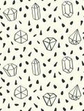 Übergeben Sie gezogener Art nahtloses Muster mit Diamantformen Stockfotografie