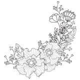 Übergeben Sie gezogener künstlerischer ethnischer Ornamental kopierten Blumenrahmen in zentangle stule Stockfotografie