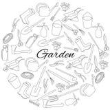 Übergeben Sie gezogener Runde gesetzte Gegenstände von Gartenwerkzeugen und -Zubehör Stockfotografie