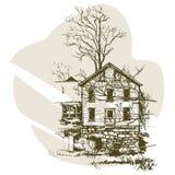 Übergeben Sie gezogener Skizze modernes Haus in der Vektorillustration Städtische Vektorskizze Stockbilder
