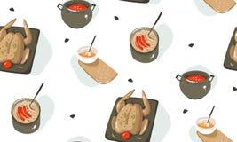 Übergeben Sie gezogener Vektorzusammenfassung moderne Karikaturkochzeitspaß-Illustrationsikonen nahtloses Muster mit dem Kochen d stock abbildung