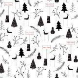 Übergeben Sie gezogener Vektorzusammenfassung skandinavisches Weihnachtsschwarzes weißes nahtloses Muster vektor abbildung